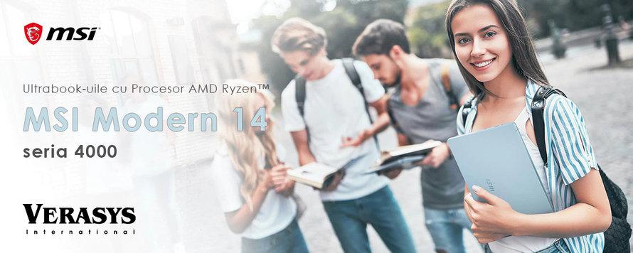 Ultrabook-uile MSI Modern 14 cu Procesor AMD Ryzen™ seria 4000